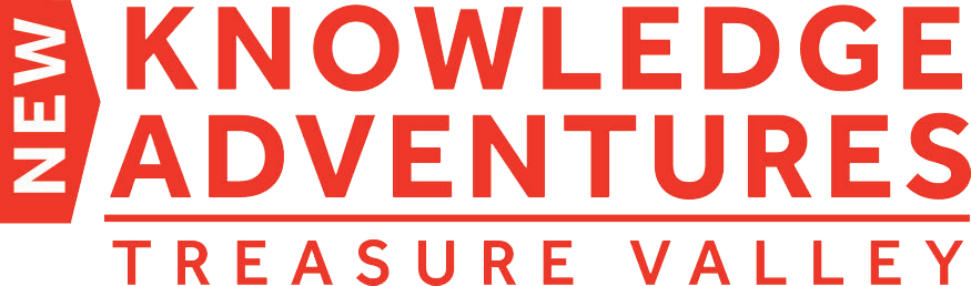 New Knowlege Adventures Treasure Valley logo in red