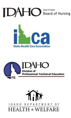 State of Idaho – Board of Nursing, Idaho Health Care Association, Idaho Division of PTE, Idaho Department of Health and Welfare, logos.